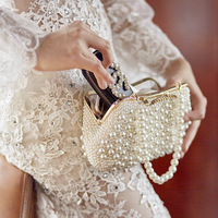 Women Messenger Beaded Women Evening Bags Imitation Pearl Shell Women Bag Shoulder Bags Diamonds Clutch Bag