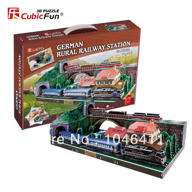 Немецкий Сельский Вокзал CubicFun 3D образовательные головоломка Бумаги и EPS Модель Бумажного Главная Украшение на рождество день рождения