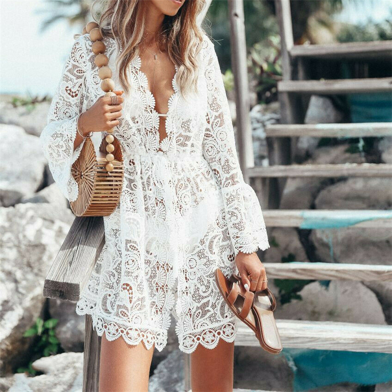Newest Arrival Women Summer Lace Cover Up Dress Hollow Out Woman V Neck Sexy Long Sleeve Cover-ups Beach Swimsuit Sundress Hot