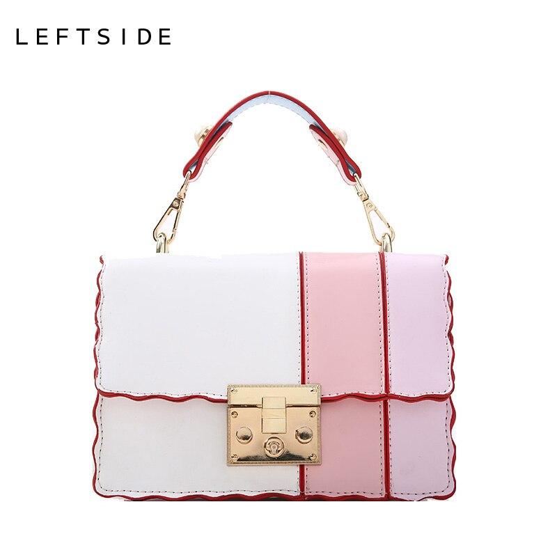 LEFTSIDE Fashion Lock Small Clutch Bags Women Handbags Wide Shoulder Straps PU Leather Patchwork Female Shoulder Messenger Bag