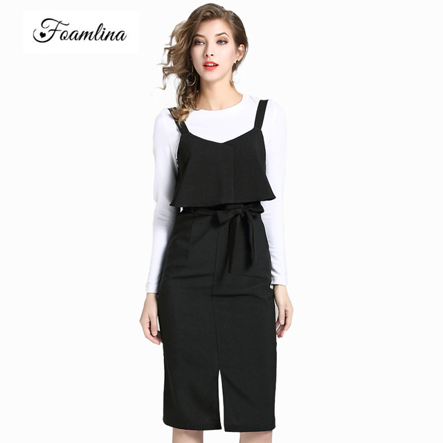 240afad39af15 US $41.4 |Foamlina Brand Women's Two Pieces Sets New Autumn White T shirt +  Black Strap Sheath Dress Suits Office Ladies 2 pieces Outfits-in Women's ...
