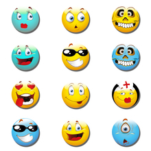 12pcs Cute Smile Emoji Face Expressions 30MM 25MM Fridge Magnet Glass Magnetic Refrigerator Stickers Holder Christmas Accessory