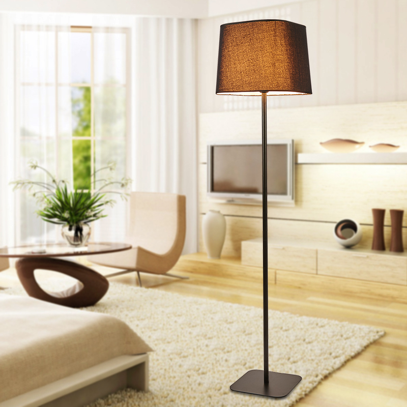 Simple Modern Floor Lamp Fashion Living Room Bedroom Light Stand Black White Fabric Lampshade Decor