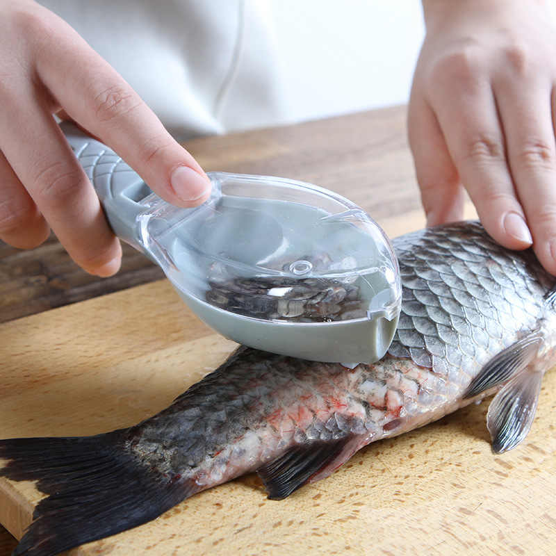 الأسماك مقياس الجلد فرشاة كشط بكرات الصيد فرشاة بشر سريع مزيل الأسماك سكين تنظيف مقشرة المتسلق مكشطة مع غطاء