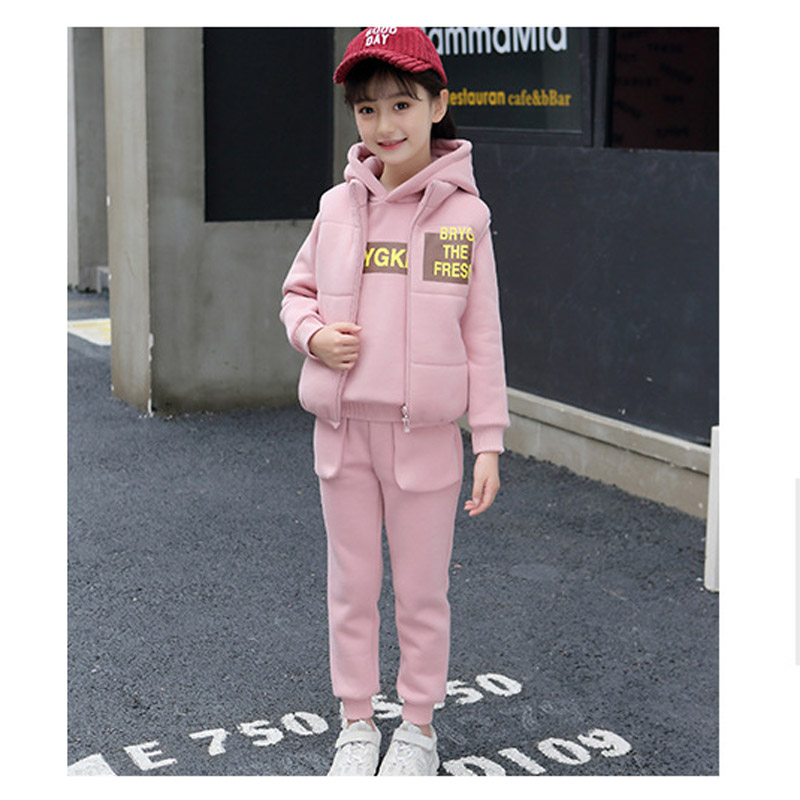 Kids Girls Fashion Winter Clothes Sets 3PCS Super Warm Velvet Long Sleeve Solid Pullover Sweatshirt Tops+Pants + Vest for 4-10YKids Girls Fashion Winter Clothes Sets 3PCS Super Warm Velvet Long Sleeve Solid Pullover Sweatshirt Tops+Pants + Vest for 4-10Y