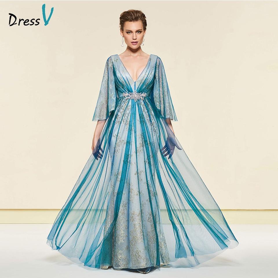 Dressv Dark Hunter V Neck Long Mother Of The Bride Floor Length 3/4 Sleeves Crystal Formal Party Mother Of The Bride Dress