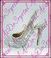 Aidocrystal 2016 мода giltter сексуальные белые заклепки сандалии Peep toe высокий каблук босоножки 12 СМ