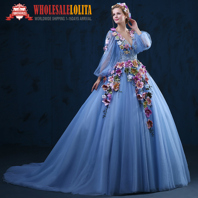 women Dress Top Sale Blue Organza Period Dress Embroidered Appliques ...