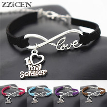 9e4ac6dac36 Fashion Vintage Antique Silver I Love My Soldier Charm Infinity Leather  Bracelets for Wife Mom Girlfriend Jewelry Army Gifts
