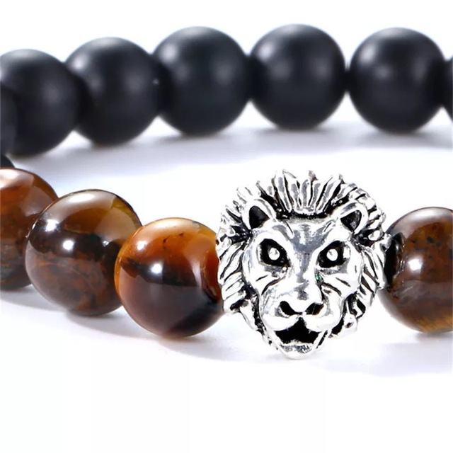 Bracelet pierre naturelle tête de loup 4