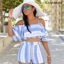 2019 Casual Striped Women Clothes Sexy Two Piece Set Summer  2 Piece Set Women Slash Neck Short Sleeve Top With Shorts Set все цены