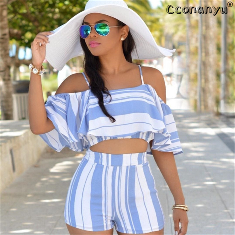2019 Casual Striped Women Clothes Sexy Two Piece Set Summer 2 Piece Set Women Slash Neck Short Sleeve Top With Shorts Set