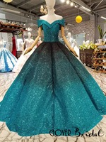 CloverBridal ball gown puffy skirt floor length off the shoulder turquoise black two tones glitter wedding dress 2018 latest