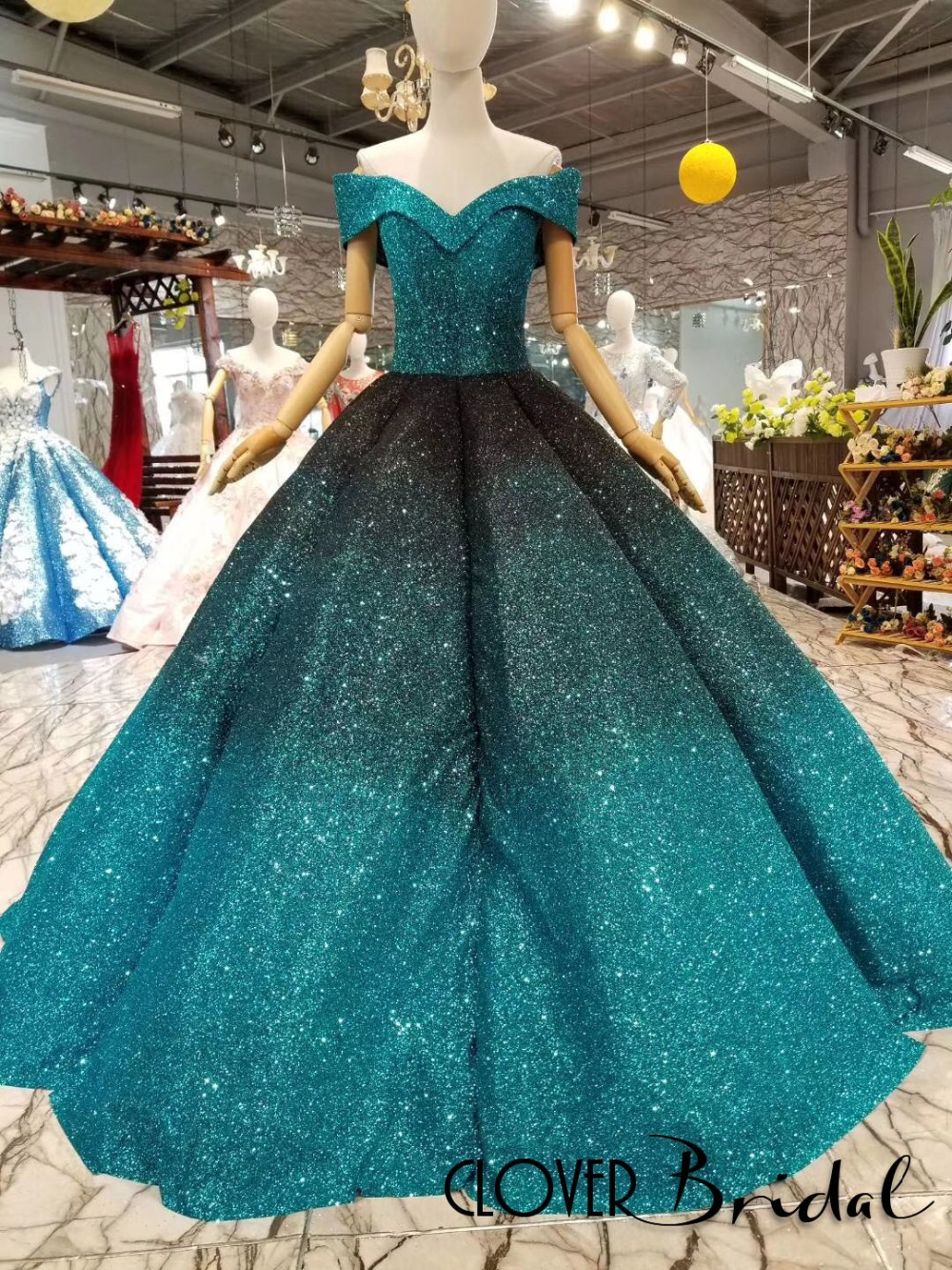 us $279.0 |cloverbridal ball gown puffy skirt floor length off the shoulder  turquoise black two tones glitter wedding dress 2018 latest-in wedding