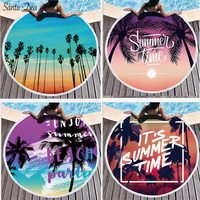 Circular letters printing beach towels superfine fiber add tassel soft 2019 latest selling ahead of time