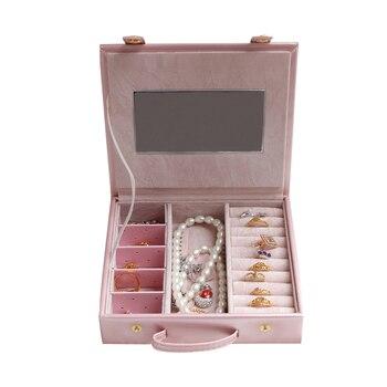 Travel PU Makeup Organizer Women Jewelry Necklace Earrings Rings Bracelet Display Case Beauty Fashion Storage Box With Mirror makeup organizer box