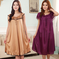 Free shipping Plus size nightgown female silk o-neck women's viscose sleepwear summer paragraph sexy skirt lounge 18 color m-5xl