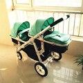 Carrinhos de bebê gêmeo de carro do bebê Crianças podem sentar pode mentir alta paisagem carrinho Passo para o carro