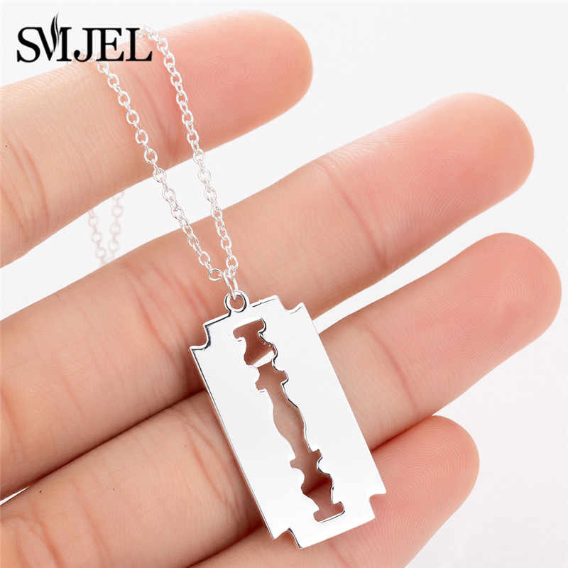 SMJEL Stainless Steel Razor Blades Pendants Necklaces Men Jewelry Fashion Cool Steel Male Shaver Shape Necklaces Dropshipping