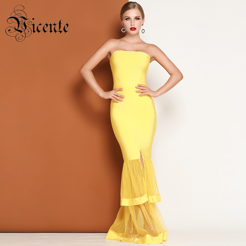 303dbe63a2d07 US $98.98 |Vicente HOT Stylish Yellow Ruffles Maxi Long Dress Sexy  Strapless Mesh Splicing Wholesale Celebrity Party A Line Dress-in Dresses  from ...