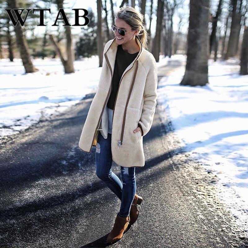 WTAB Turtleneck Zipper jacket women 2018 thicken autumn winter coat woolen Outwe