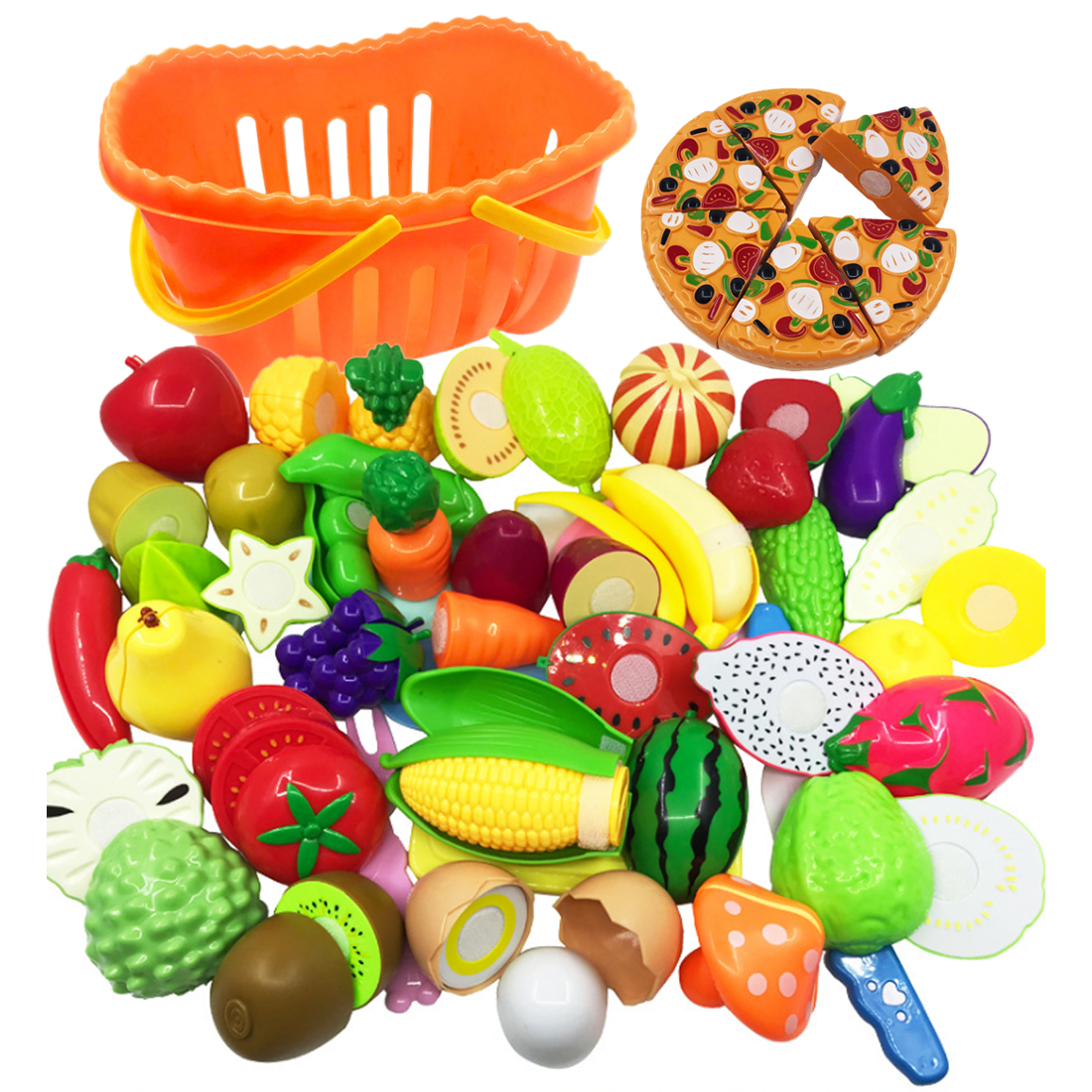 40Pcs Pretend & Play Early Educational Kitchen Toys Children Simulation Vegetables and Fruits Cutting Playing Set for Kid Gift40Pcs Pretend & Play Early Educational Kitchen Toys Children Simulation Vegetables and Fruits Cutting Playing Set for Kid Gift