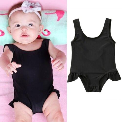 CANIS 2019 Newborn Baby Girls Swimsuit Swimwear Swimming Suit One-piece Sleeveless Solid Color Bikini Costume Hot Sale