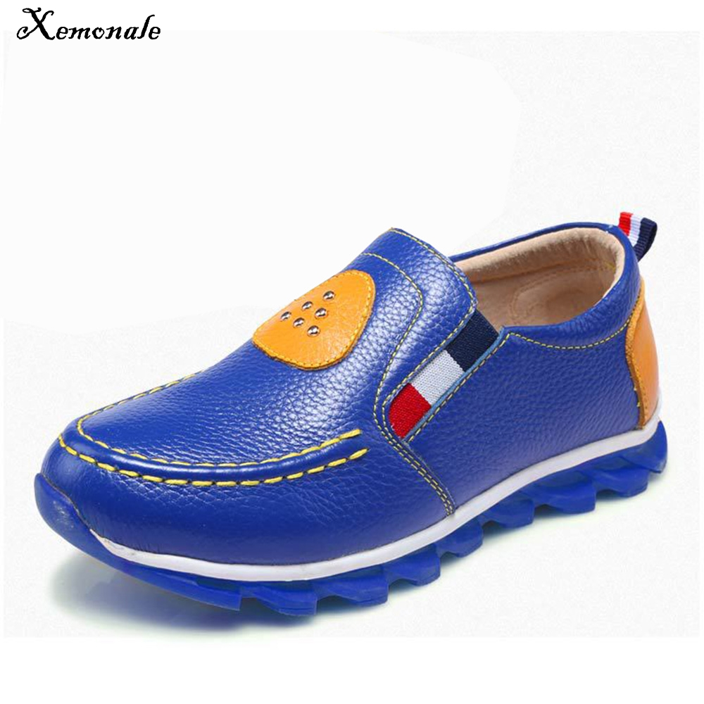 Xemonale 2018 Spring Boys Shoes Childrens Casual Shoes Boys Leather Shoes Students Black YellowBlue Peas Shoes Ventilation