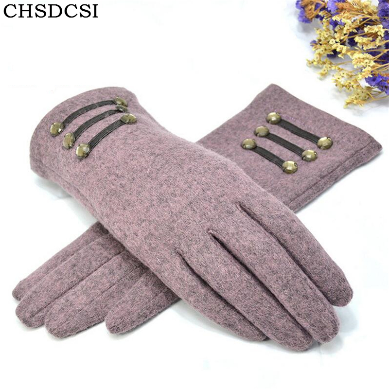 CHSDCSI Female Gloves Mitten Womens Autumn Winter Outdoor Warm Inverted Cashmere Cotton Wrist Glove Solid Screen Gloves Women