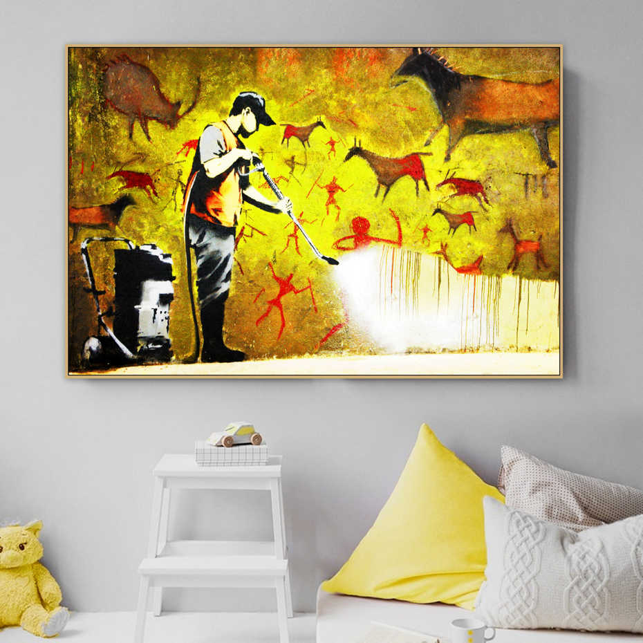 Abstract Banksy Cave Wall Graffiti Street Art Figure Canvas Painting Poster Print POP Wall Art Pictures Living Room Home Decor