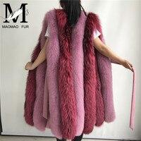 Silver Fox Fur Long Vest Women Winter Autumn Luxury Fox Fur Vests New Fashion Women Real Fur Gilet High Quality