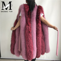 Silver Fox Fur Long Vest Women Winter Autumn Luxury Fox Fur Vests New Fashion Women Real Fur Gilet High Quality