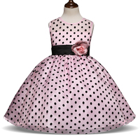 Flower Decoration Dress Black Dots Dance Party Outfits For Little Girl Teenager Dinner Dress Formal Costume