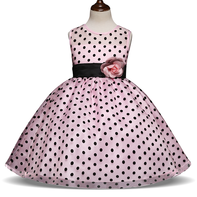 Flower Decoration Dress Black Dots Dance Party Pink For Little Girl Teenager Dinner Dress Formal Costume