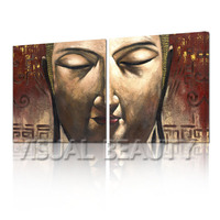 FREE SHIPPING Wall decoration items Buddha Face Photo Oil Painting on Canvas(Unframed)70x70cmx2pcs