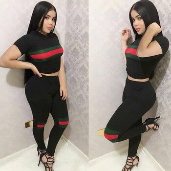 2 TWO PIECE SET Hoodie T Shirt Top Short Track Suits Summer Woman Tracksuit Clothes Work Out Long Pants Slim High Waist Ensemble 1