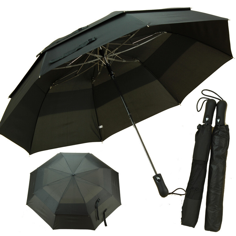 Livraison gratuite Noir 130 cm deux fois double pont miel tombe en fiber de verre de golf parapluies auto ouvert hommes de commerce parasols