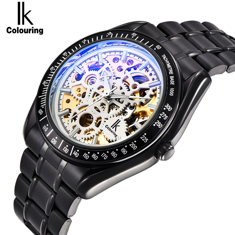 IK colouring Full Steel Luminous Automatic Mechanical Men's watch Brand Luxury Transparent Hollow Skeleton Military clock ik colouring brand mechanical hand wind clock nail scale hollow back cover luminous hardlex full steel business men s watch