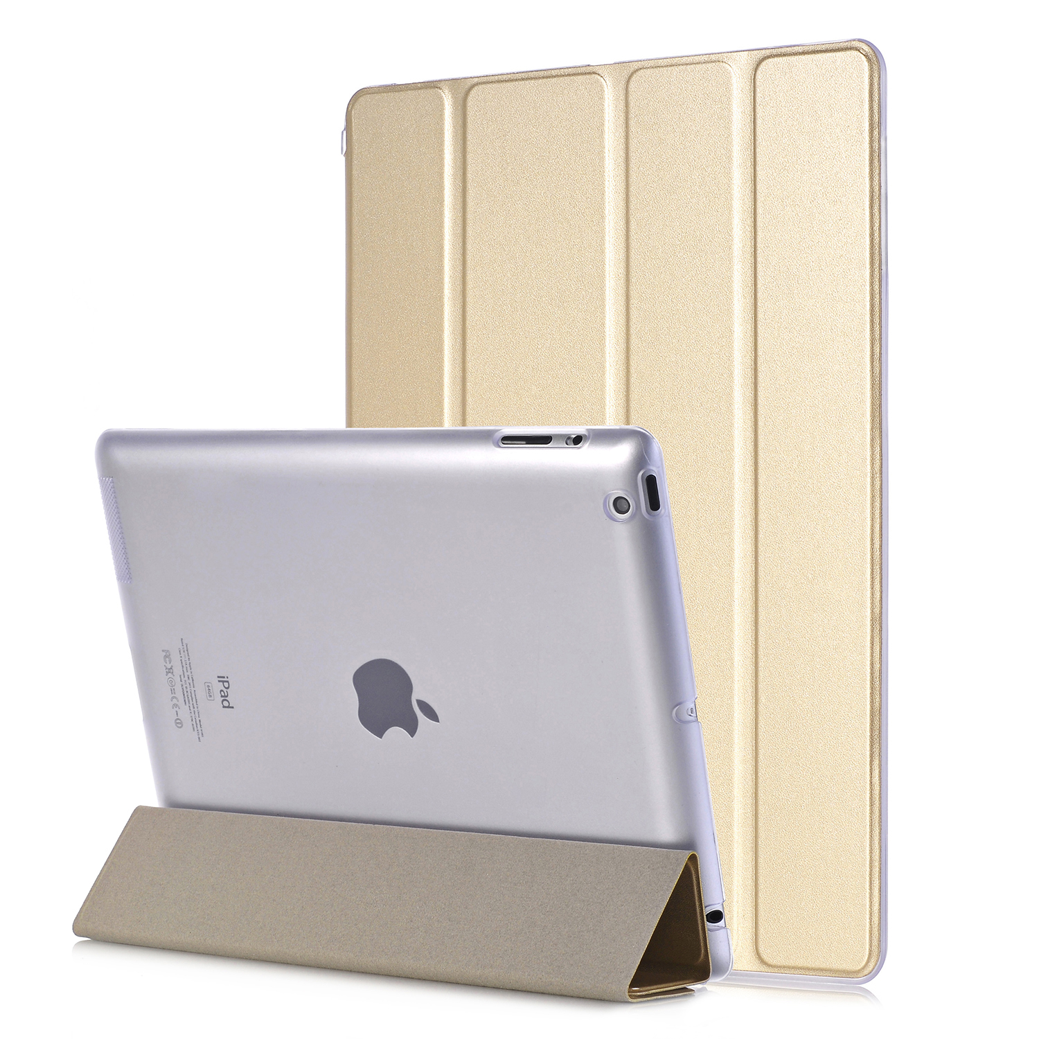 For iPad 2 iPad 3 iPad 4 Case Luxury Ultra Slim Smart Wake Sleep Trifold Transparent