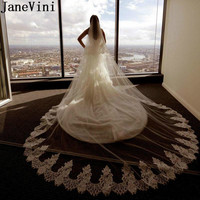JaneVini Elegant 3.5 Meters Long Cathedral Wedding Veil Lace Edge White Soft Tulle Bridal Veil Two Layers Bride Veils With Comb