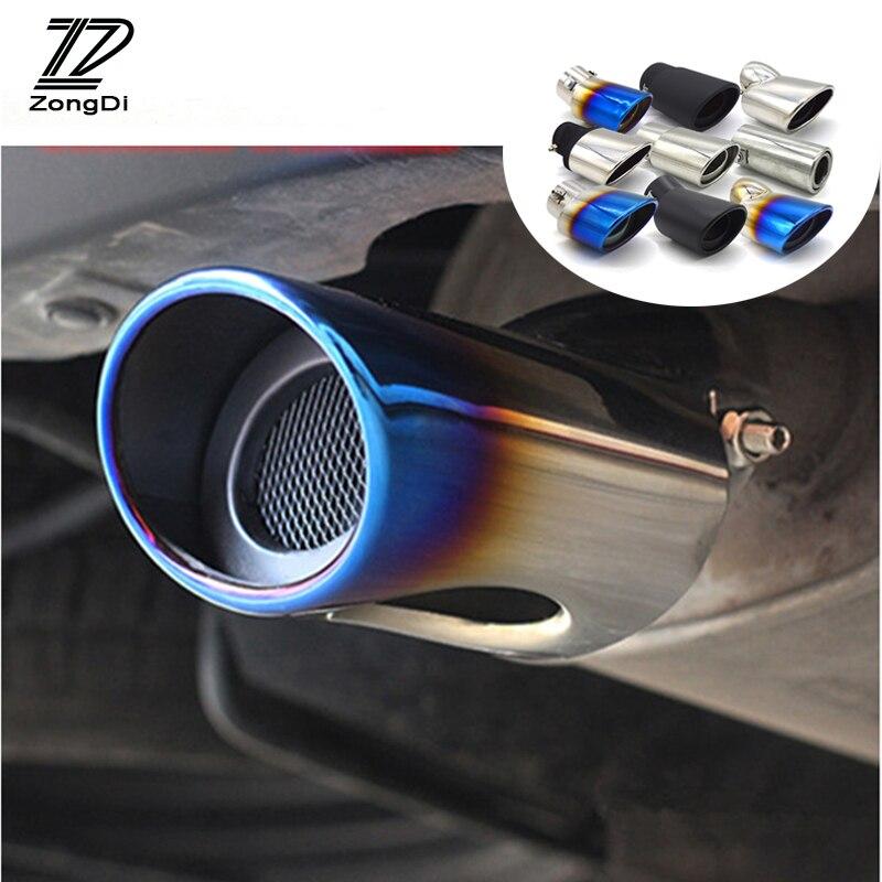 สากลรถยนต์ไอเสียท่อไอเสียสแตนเลสเคล็ดลับท่อC Hromeตัดดัดแปลงรถด้านหลังหางคอLinerอุปกรณ์