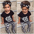 2017 The new summer baby girl clothes 3 pcs / pack Flower Band T-shirt pants baby clothing sets baby girl 3 piece suite