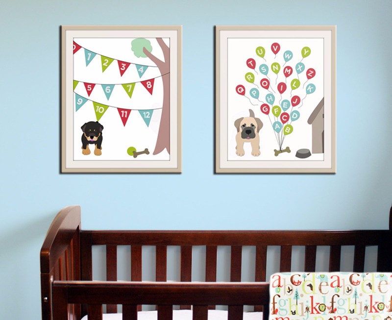 Baby Nursery Art Print Dog ABC Alphabet Nursery Decor, Wall Picture Canvas Prints Cuadros Decoracion Canvas Art Poster, No Frame