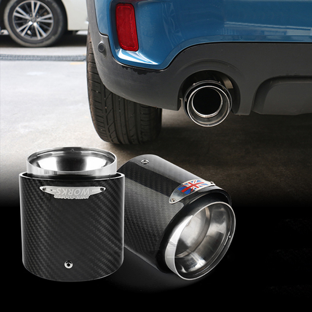 Carbon Fiber Steel Exhaust Pipe Tail Muffler Tip JCW for Mini Cooper R55 R56 R60