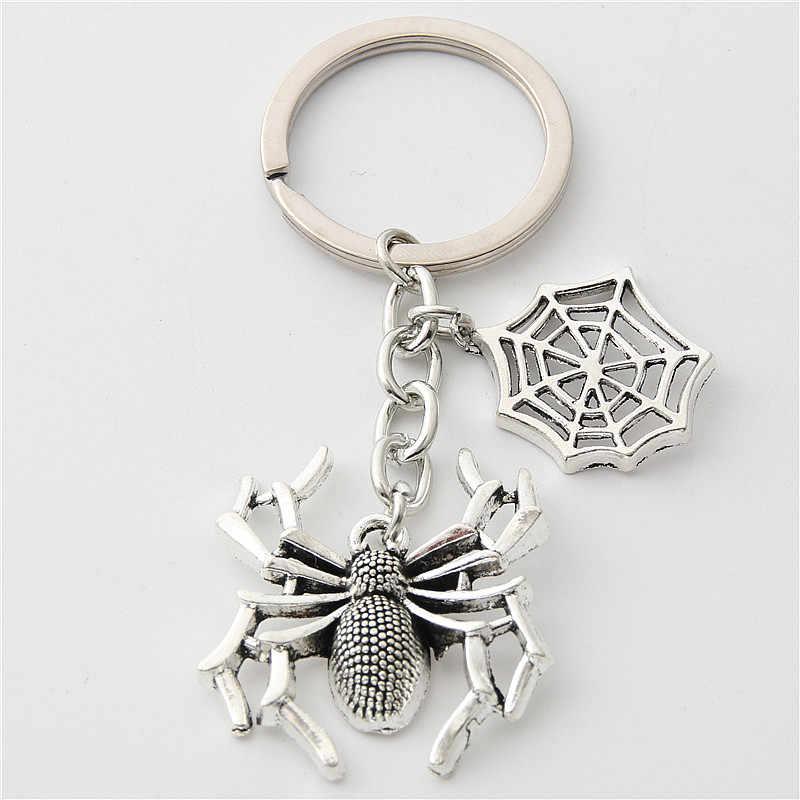 1pc Estilo de Prata Antigo Halloween Pendurado Anel Chave Keychain Aranha Teia De Aranha Aracnídeo E2211 Chaveiro Para O Presente