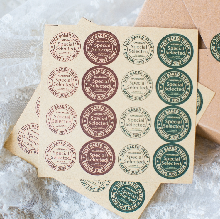 [4Y4A] 5pcs/Lot DIY  Retro Round 4 Colors Postmark Handmade Kraft Seal Sticker