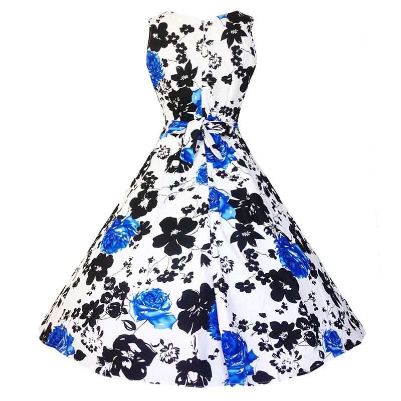 Kostlish Cotton Summer Dress Women 2017 Sleeveless Tunic 50s Vintage Dress Belt Elegant Print Rockabilly Party Dresses Sundress (88)