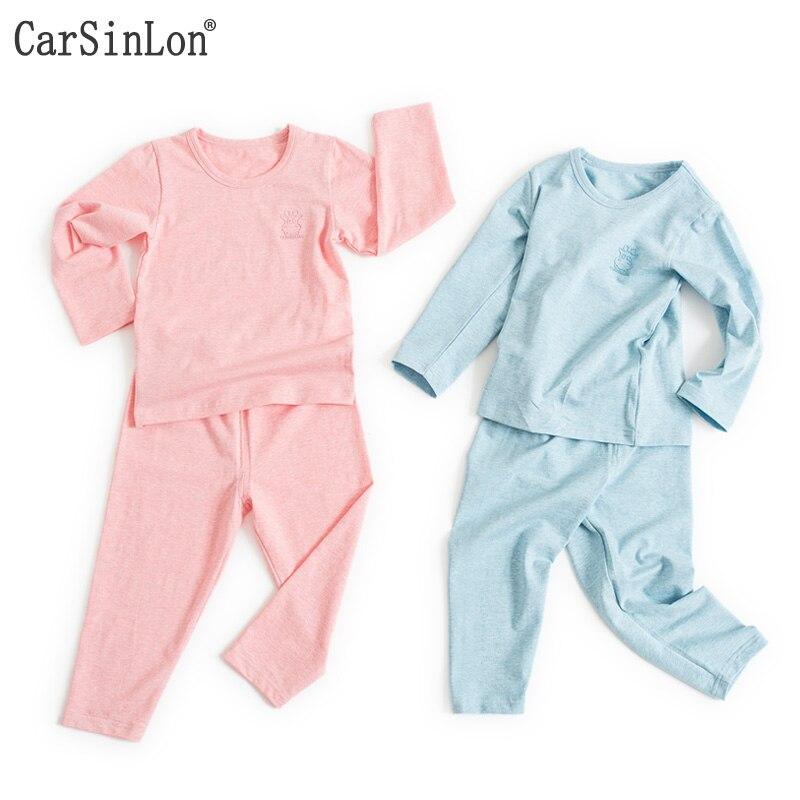 2017 Candy Colours Langærmet bomuld 4 sæsoner Tynde børnetøjssæt Piger Drenge Undertøjssæt Børn Long Johns Pyjamas