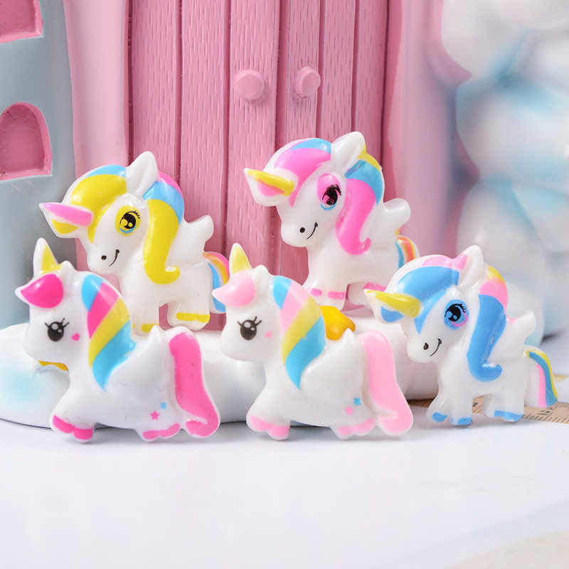 Resin Unicorn Children Creative Toy Clay Mold Slime Charm Fluffy Stuffing Kids Interactive Tools Doll House Accessories