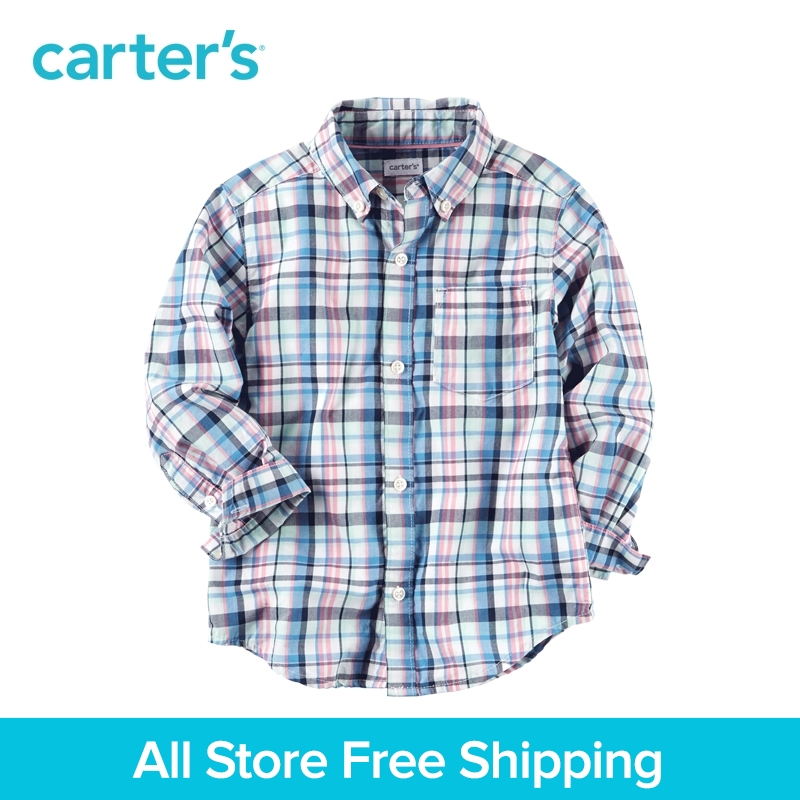 Carter's 1pcs baby children kids Plaid Button-Front Shirt 225G856,sold by Carter's China official store button front frilled detail top